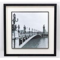 Cuadro imagen puente en blanco y negro con cristal 44x44 cm