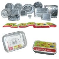 Paquete 3 envases rectangulares de aluminio con tapa de cartón 194x144x33 mm