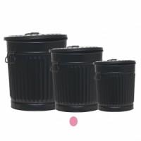 Cubo basura metálico negro con tapa Vintage 37xh37 cm