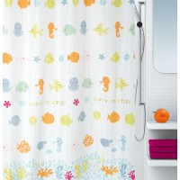 Cortina baño textil Happy Fish multicolor 180x200 cm