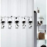 Cortina baño PVC Beagle blanco y negro 180x200 cm
