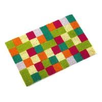 Felpudo decorado coco cuadrados pequeños de colores 40x60 cm