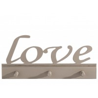 Perchero de pared en madera Love 3 colgadores 49,5xh23cm