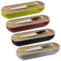 Panera con tabla de cortar y cuchillo en 4 colores 40x12xh8,5cm