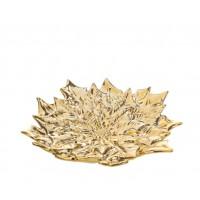 Plato centro hoja de flor de Pascua dorado 19,5x17,8xh3,5cm