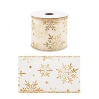 Rollo lazo cinta regalo navidad blanco y dorado con copos de nieve 6,3cm x 4 m