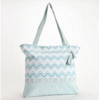 Bolso textil verano estampado geométrico azules 45x50cm