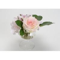 Ramo de flores en jarrón cristal forma de copa 14x20cm