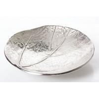 Centro de mesa redondo metálico plateado relieve hoja 28xh5,5cm