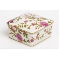 Caja porcelana cuadrada decorada flores rosas 10cm