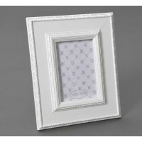 Marco fotos madera blanca borde con relieve 10x15cm