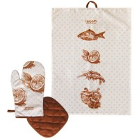 Set textil cocina trapo y manoplas Retro Fish