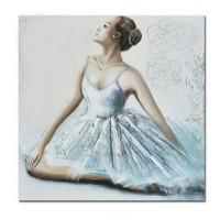 Lienzo cuadro chica bailarina sentada 100x100 cm 2 modelos