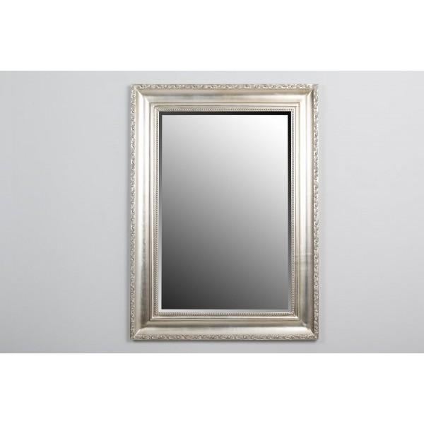 Espejo marco madera plateado trabajado 112 6x82 6x3 7 cm for Espejo rectangular plateado