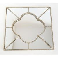 Espejo cuadrado resina champagne marco fino arabesco 60x60cm