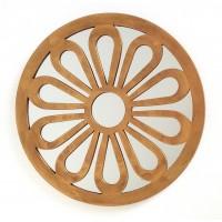 Espejo redondo resina dorado antiguo flor 39,5cm