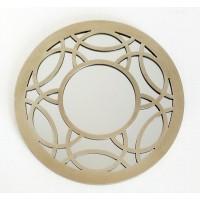 Espejo redondo marco resina champagne círculos 40cm
