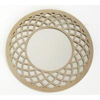 Espejo redondo marco resina champagne curvas 49,6cm