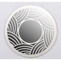 Espejo redondo marco resina blanco ondas 50cm