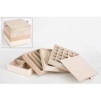 Joyero polipiel cuadrado 4 estantes + tapa 19x19x17,5cm