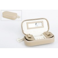 Joyero polipiel de viaje beige con cremallera 18x10x5cm