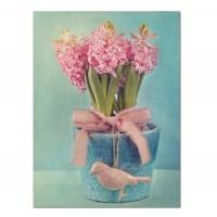 Lienzo serigrafiado jarrón flores pajaro 30x40 cm