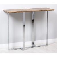 Consola mesa madera oscura patas cromadas Vintage Look 100x35x80cm