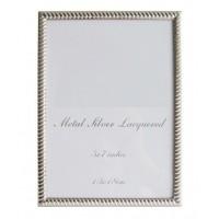 Marco fotos metálico plateado fino con relieve 13x18cm