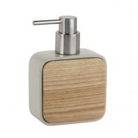 Dispensador de jabón baño en madera y poliresina beige 10x5x14,5cm