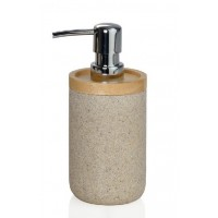 Dispensador de jabón baño redondo poliresina beige granito y madera 8x18,5cm