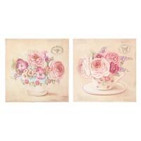 Cuadro mdf motivos flores rosas en tazas 4 modelos 40x40cm
