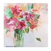 Cuadro lienzo oleo jarrón flores 2 modelos 80x80 cm