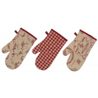 Set 3 guantes de cocina estampados burdeos Country