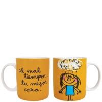 "Mug naranja con frase divertida ""al mal tiempo... tu mejor cara"" 340ml"