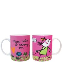 "Mug rosa con frase divertida ""keep calm & carry on"" 340ml"