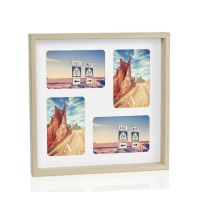Portafotos multiple 4 fotos madera natural fondo blanco 10x15cm