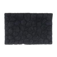 Alfombra baño algodón relieve piedras negro 50x80cm