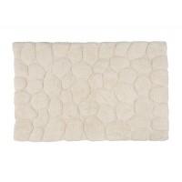 Alfombra de baño algodón efecto piedras marfil 50x80 cm