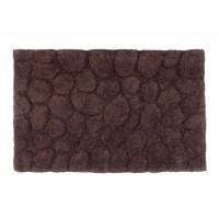 Alfombra baño algodón relieve piedras marrón 50x80cm