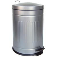 Papelera metal Step plata mate 20 litros