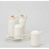 Soporte servicio mesa aceitera, vinagrera, salero y pimentero porcelana blanca