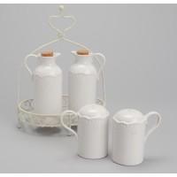Soporte servicio mesa aceitera, vinagrera, salero y pimentero porcelana blanca Rosalie