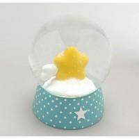 Bola de nieve azul con estrella amarilla