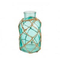 Porta velas cristal botella verde con asa de cuerda 11xh21cm