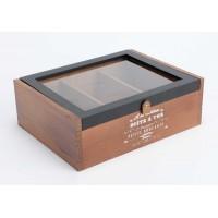 Caja de madera para te marrón Brocante