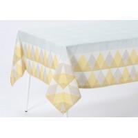 Mantel algodón estampado geométrico mostaza 150x250cm