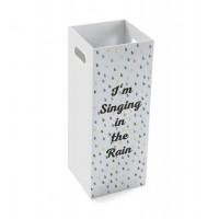 Paraguero madera blanco mensaje Singing in the Rain 21x53 cm