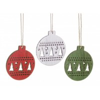 Adorno árbol de Navidad en madera bola navideña roja, blanca o verde 9x8cm