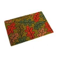 Felpudo decorado coco base goma hojas roble colores 40x60 cm