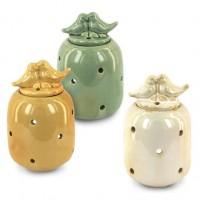Quemador para aceites esenciales porcelana mostaza/verde/blanco Pajaros 13,5x8,5x8,5cm